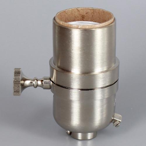 3-Way Round Key Smooth Shell Cast Lamp Socket - Satin Nickel