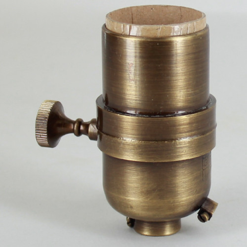 3-Way Round Key Smooth Shell Cast Lamp Socket - Antique Brass