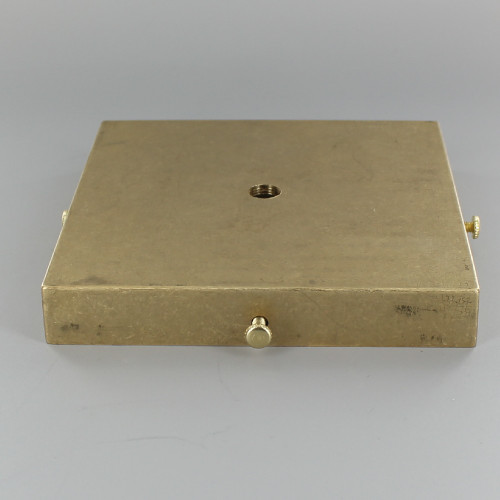 5in Screw Less Face Mount Cast Brass Square Backplate/Canopy - Unfinished Brass