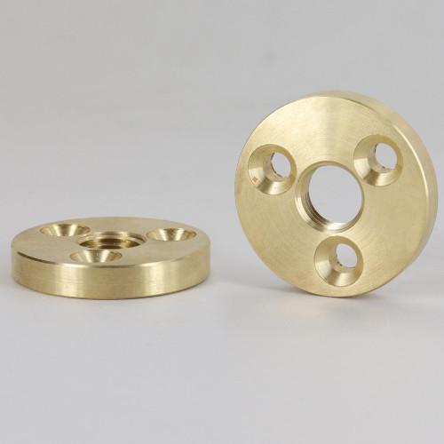 1/4ips Threaded 1-1/2in Diameter Turned Solid Brass Heavy Duty Flange