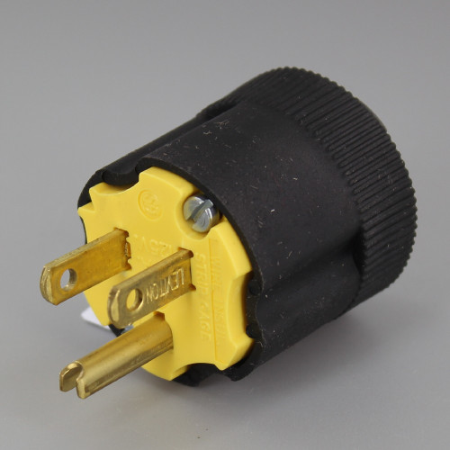 Black - Rubber Grounded Plug with Built in Strain Relief