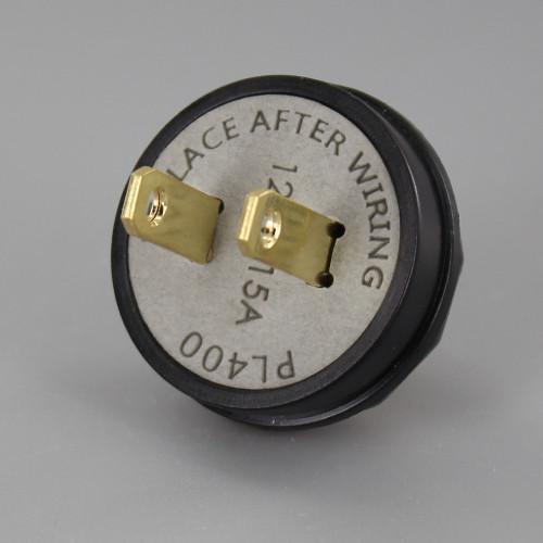 Black - Button Style, Non-Polarized, Non-Grounding, 2-prong Plug With Screw Terminals