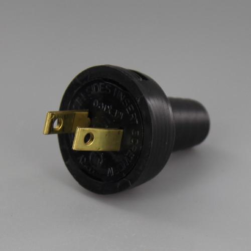 Black - Button Style Nylon Non-Polarized Round Handle Plug with Screw Terminals