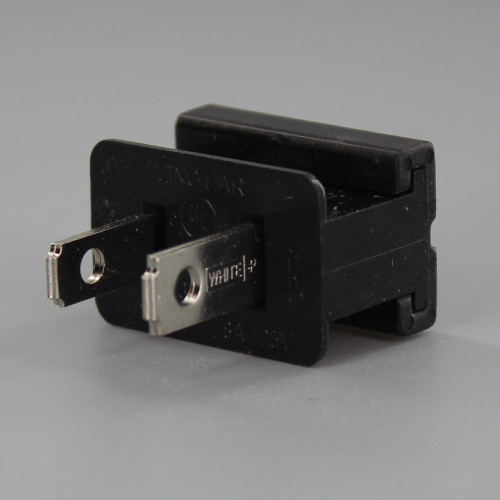 Black - Polarized, Non-Grounding, Male Gilbert / Slide Together Plug for use with 18/2 SPT-1 Wire