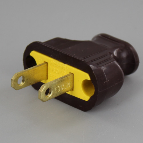 Brown - 2-Prong, Non-Polarized, Non-Grounding, 120V Phenolic Lamp Plug with Screw Terminals