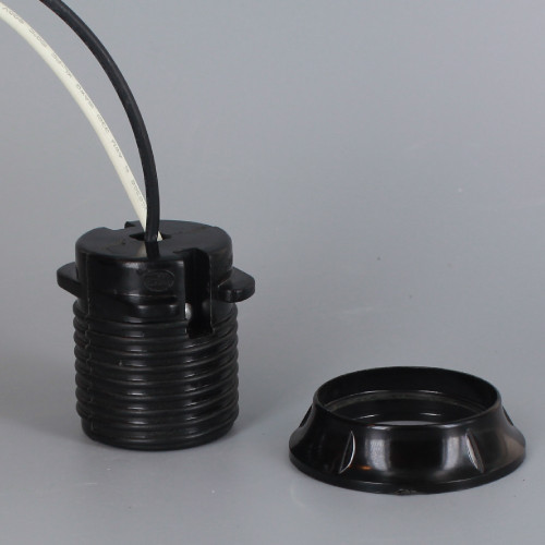 Black Phenolic E-26 Threaded Skirt Sign Socket with Shoulder and Ring