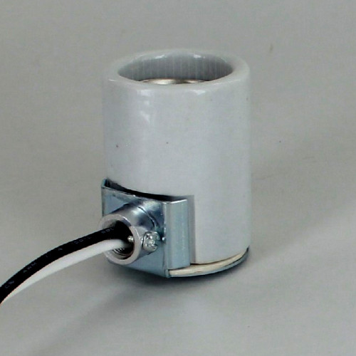 E-26 Porcelain Keyless Socket with 1/8ips. Side Outlet Bushing and 18in. Leads