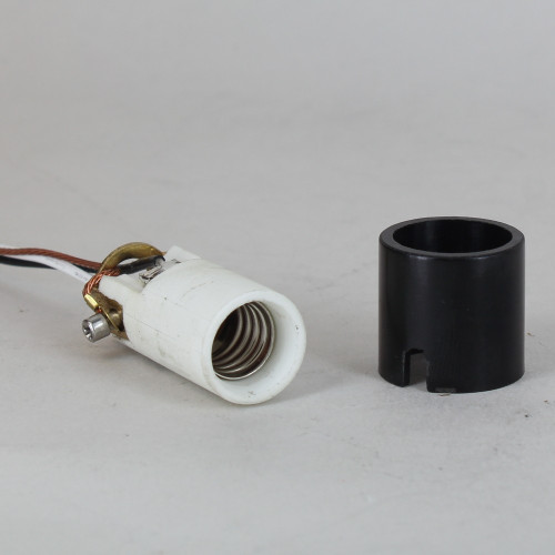 Grounded 1-5/8in Height Porcelain E-12 Base Damp Location Rated Lamp Socket with 72in Wire Leads.