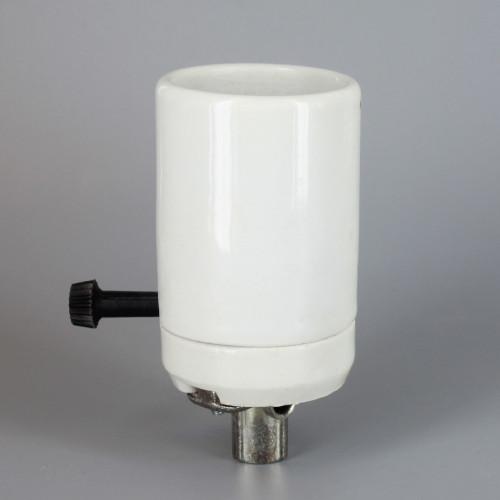 Large E-39 Mogul Base Porcelain 3-Way Socket with Removable Turn Knob and 1/4ips. Hickey