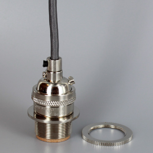 Polished Nickel Metal E-26 Base Keyless Lamp Socket Pre-Wired with 6Ft Long Grey Nylon Overbraid