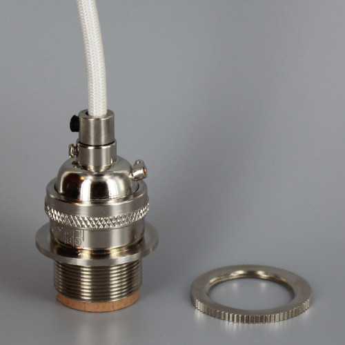 POLISHED NICKEL E-26 Base UNO THREADED KEYLESS SOCKET Pre-Wired with 6Ft Long White Nylon Overbraid