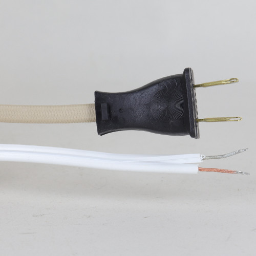 10ft Long 18/2 SPT-2 Beige Cloth Covered Powercord with NEMA 1-15P Molded Plug. UL Listed. Made in the USA.