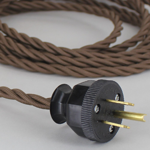 10ft Long Brown Twisted 18/3 SPT-2 Type UL Listed Twisted Powercord WITH BLACK PHENOLIC PLUG