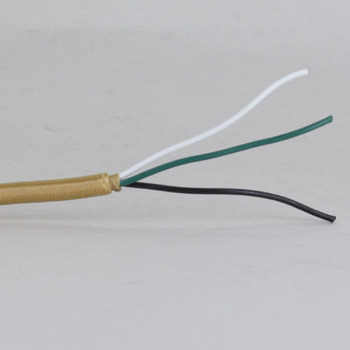 10ft Long - 18/3 SVT-B Gold Cloth Covered Pre-Processed Wire Harness