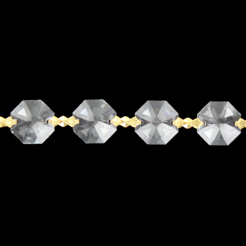14mm. Strass Lead Crystal Chain with Brass Bowtie Clips