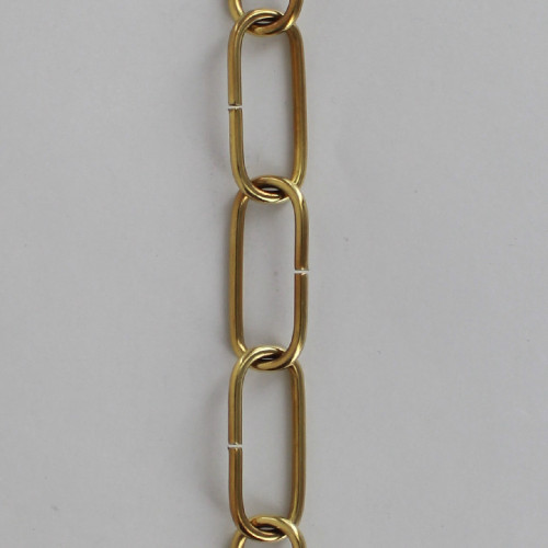 1/8in. Thick Solid Brass Small Elongated Oval Lamp Chain - Polished and Lacquered Brass Finish