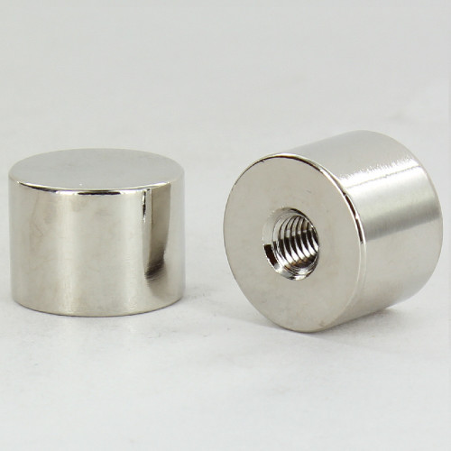 1/4-27 UNS - 3/4in W x 1/2in H - Brass Cylinder Finial - Nickel Plated