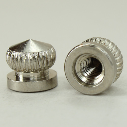 8/32 UNC - 5/16in x 5/16in Knurled Acorn - Nickel Plated