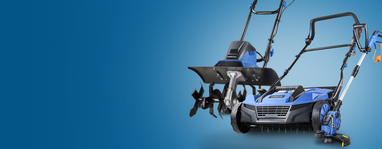 Electric lawn mowers, strimmers, scarifiers, chainsaws and hedge trimmers