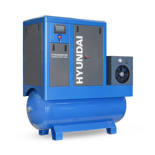 Hyundai 20hp 500L Permanent Magnet Screw Air Compressor with Dryer and Variable Speed Drive | HYSC200500DVSD
