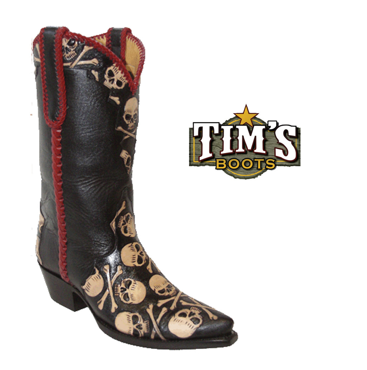 70af788ff38 Hand Tooled Skull & Crossbones Cowboy Boots - Women's
