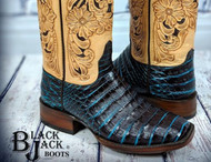 A Must Have New Style from Black Jack  Caiman Belly Boots with Hand Tooled Uppers