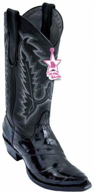 Los Altos Ladies Eel Snip-toe Cowgirl Boots-Black