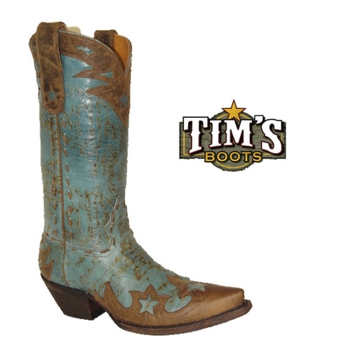 Star Boots Star Boots Womens Marbled Turquoise Boots