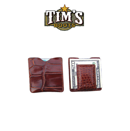 Tims Boots Alligator Card Wallet Money Clip