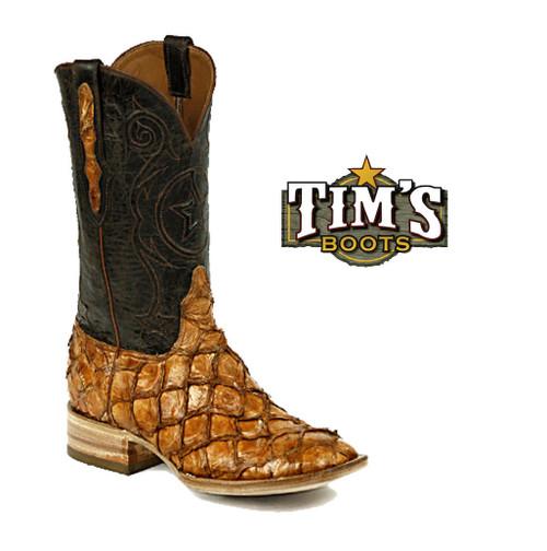 Black Jack Boots Pirarucu Cowboy Boots Inverted Scales