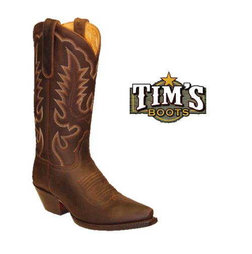 Star Boots Snip Toe Crazy Horse Cowboy Boots 2 Colors