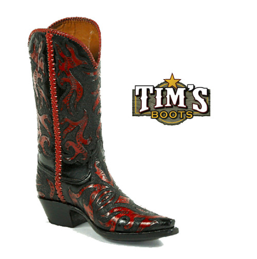 Black Jack Boots Black Jack Full Hand Tooled Boots with Lacing - Style HT20