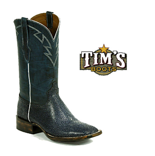 Black Jack Boots American Made Sanded Stingray Boots with Tribal collar stitch
