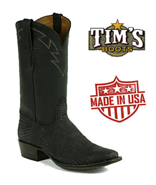 Black Jack Boots Shark Skin Boots - Tribal Stitched Collar - Made in America