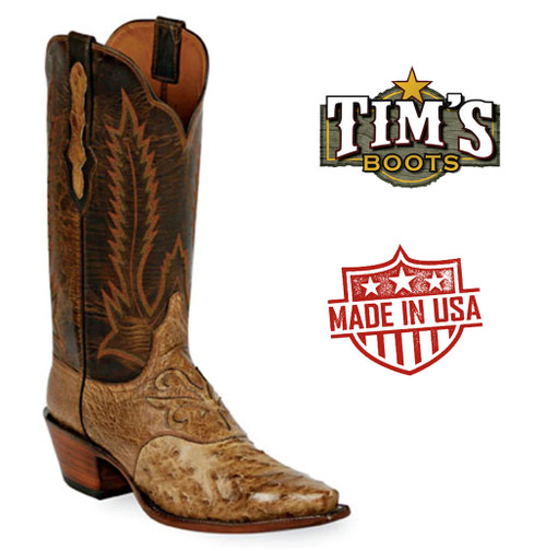 Black Jack Full Quill Ostrich Cowboy Boots with Spur Strap