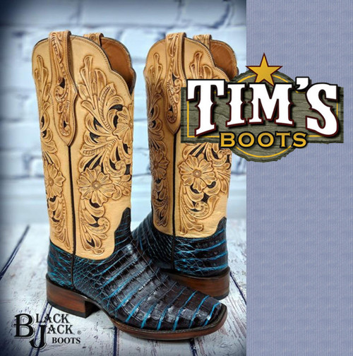 Black Jack Turquoise Brown Caiman Belly Boots with Hand Tooled Tops