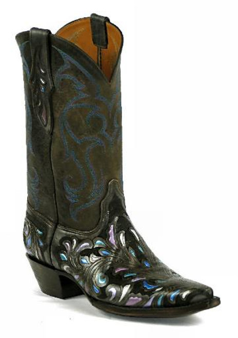 Black Jack Hand Tooled and Painted Cowgirl Boots