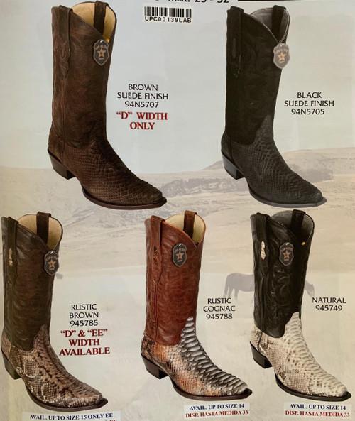 Los Altos Boots Los Altos Snipped Toe Python Cowboy Boots