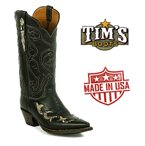Black Jack Boots Black Jack Ranch Hand with Snake inlay Cowboy Boots