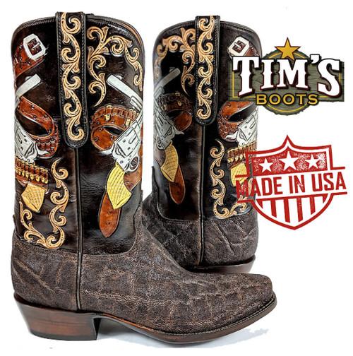 Black Jack Boots Black Jack Chocolate Elephant with Hand Tooled Crossed Pistols