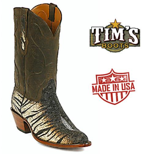 Black Jack Tiger Brown Stingray Western Boots