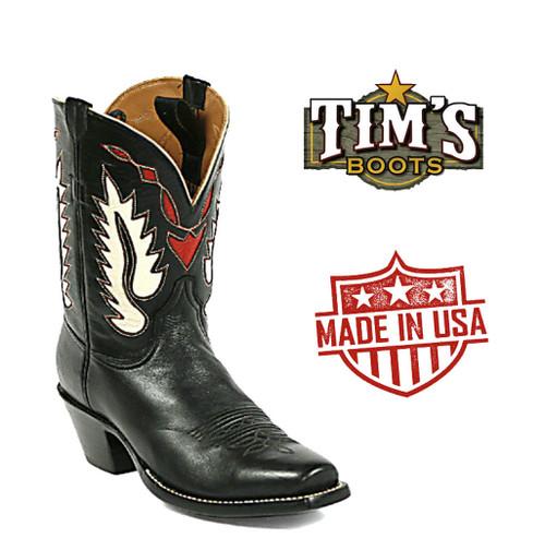 Black Jack Pee Wee Cowboy BootsHeart and Wings Inlay