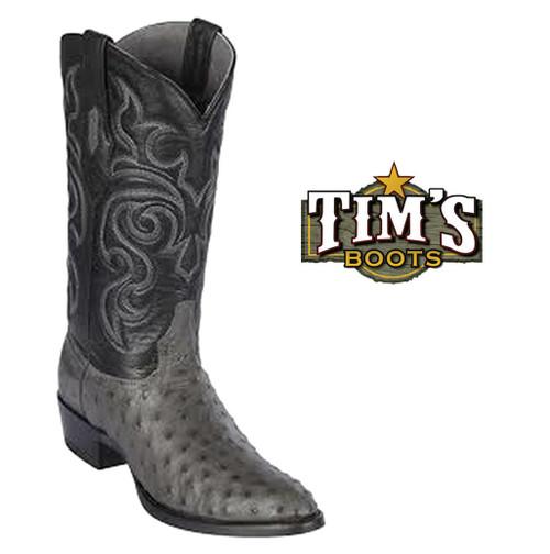 Los Altos Grey Ostrich round toe Cowboy Boots