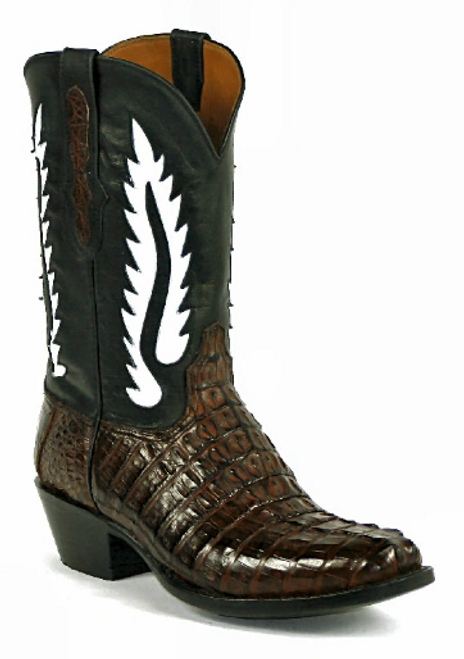 Black Jack Burnished Italian Red Caiman Tail Cowboy Boots(7147)