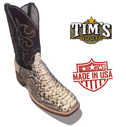Cowtown Natural Python Back Cut Q(wide square) Toe
