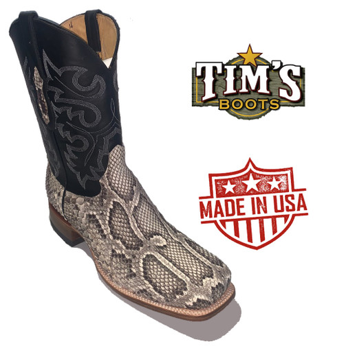 Cowtown Natural Python Belly Cut Q(wide square) Toe