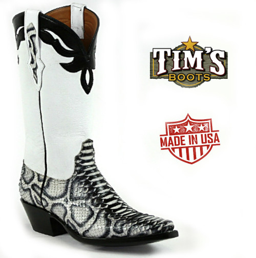 Black Jack Black and White Python Boots