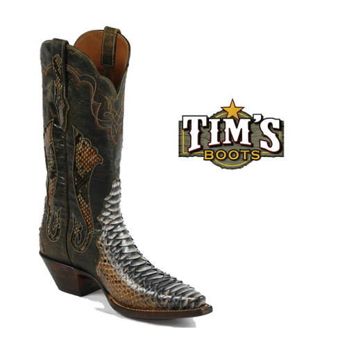 Black Jack Boots Python Cowboy Boots - Rust Dyed Triad