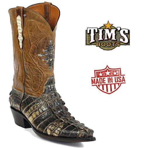 Black Jack Natural Alligator Tail Cowboy Boots