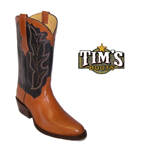 Tims Boots Calfskin Cowboy Boots with Collar